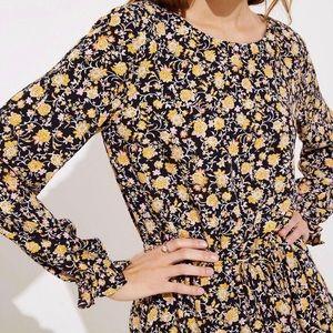 LOFT Yellow & Black Floral Dress